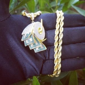 Other - 18K Gold Plated Money Roll Rope Chain & Pendant